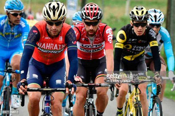 Italy's Antonio Nibali Belgium's Thomas De Gendt and France's Romain Sicard lead a breakaway during the 1705 km first stage of the 69th edition of...