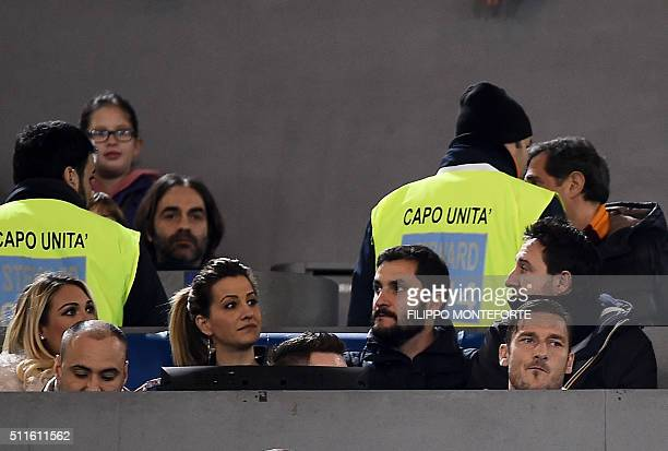Italy's AS Roma forward Francesco Totti sits in the stand during the italian Serie A football match Roma vs Palermo at the Olympic Stadium in Rome on...