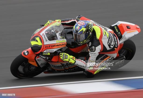 Italy's biker Lorenzo Baldassarri rides his Kalex during the Moto2 free practice of the Argentina Grand Prix at Termas de Rio Hondo circuit in...