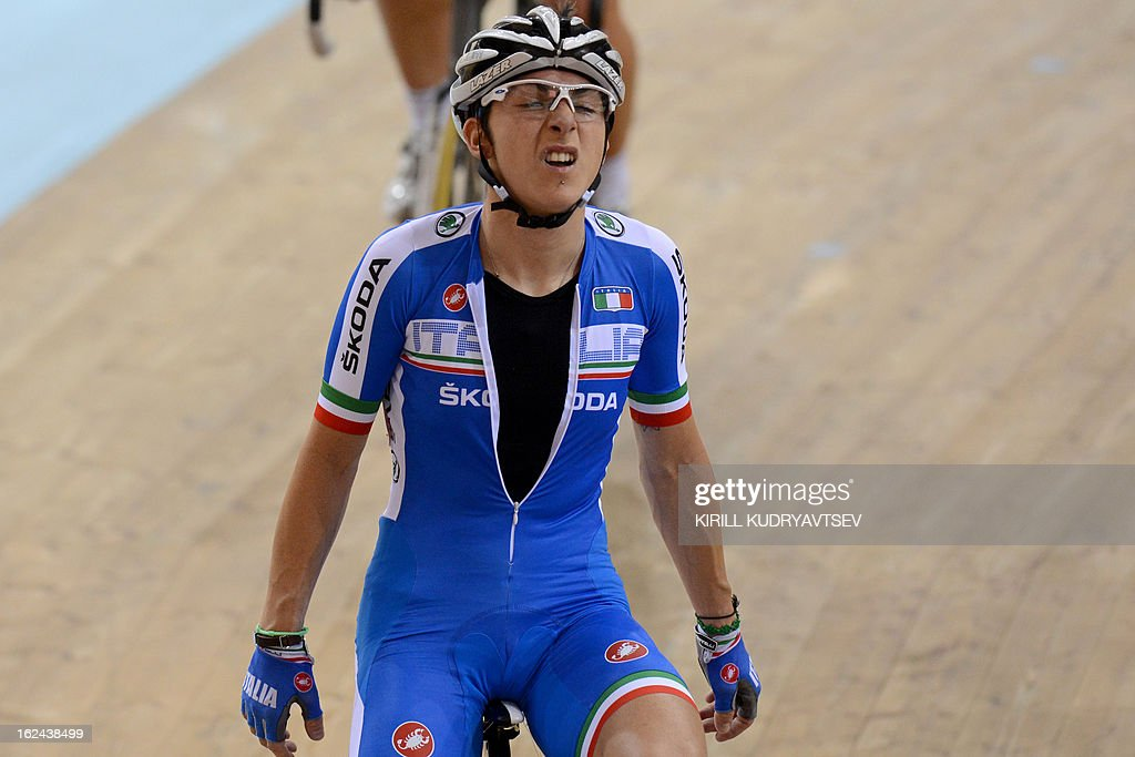 Italy's bronze medallist Giorgia Bronzini reacts after UCI Track Cycling World Championships Women's 25 km Point Race in Belarus' capital of Minsk on February 23, 2013. AFP PHOTO/KIRILL KUDRYAVTSEV
