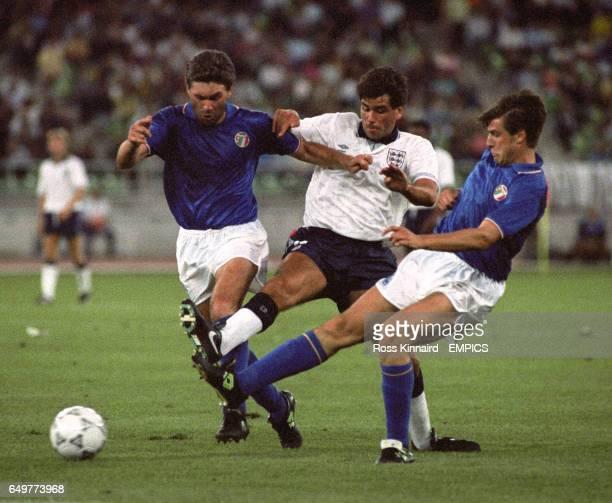 Italy's Carlo Ancelotti England's Neil Webb and Nicola Berti Italy battle for the ball