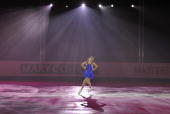 Italy's Carolina Kostner performs an exhibition program at the Dom Sportova Arena in Zagreb 27 January 2008 during the gala of the European Figure...