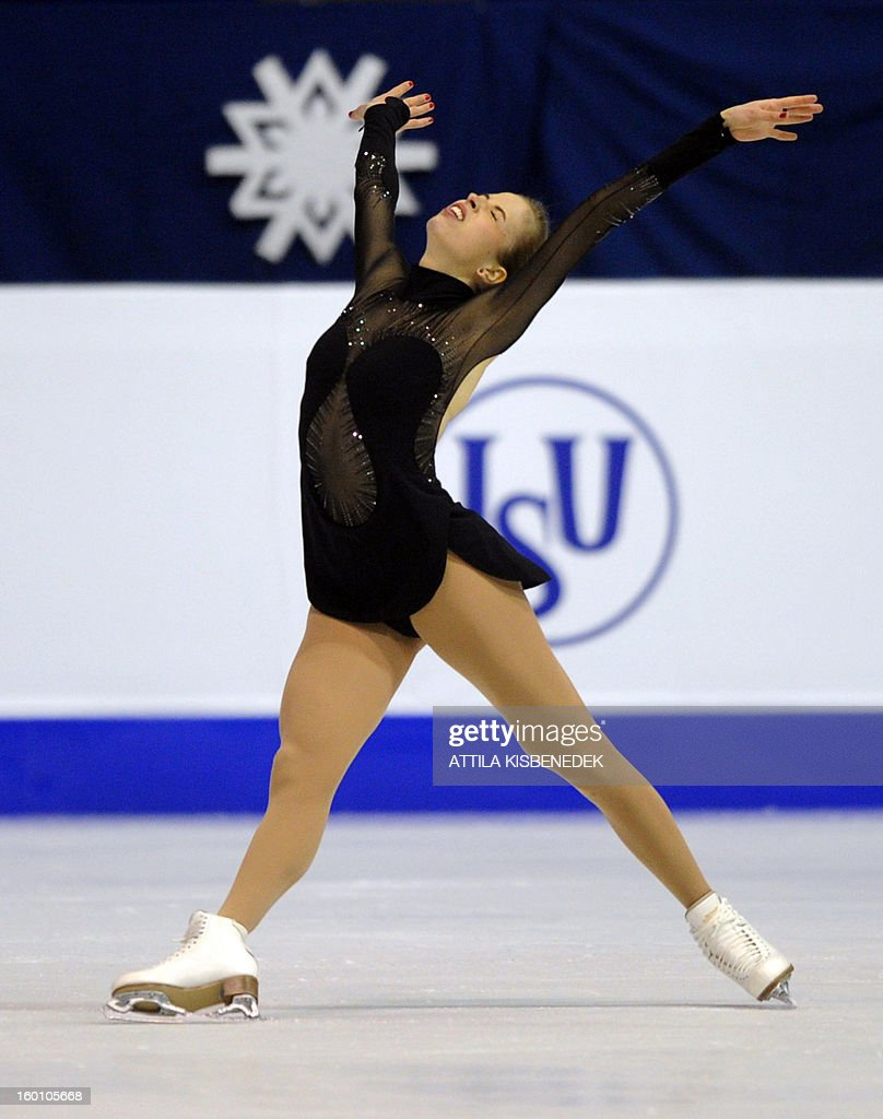 Italy's Carolina Kostner performs on January 26, 2013 at the 'Dom Sportova' sports hall in Zagreb, during the Women free skating event of the ISU European Figure Skating Championships. Kostern won the event.
