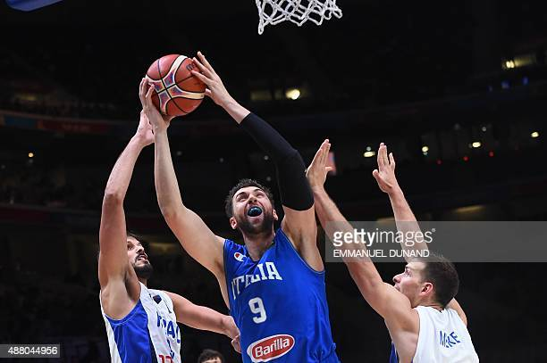Italy's center Andrea Bargnani goes to the basket during the round of 16 basketball match between Israel and Italy at the EuroBasket 2015 in Lille...