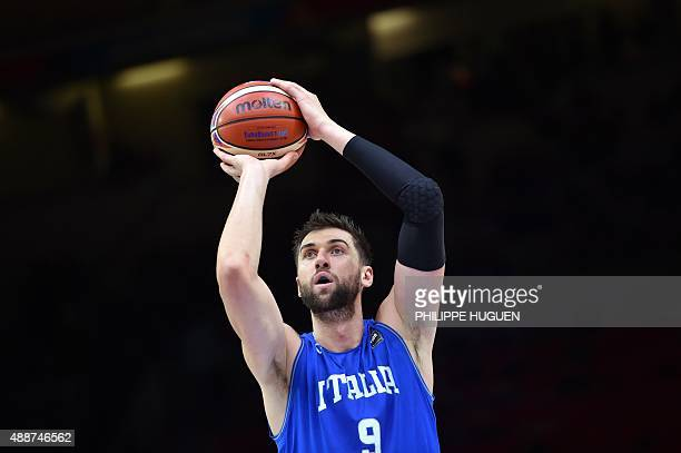 Italy's center Andrea Bargnani shoots a penalty during the classification basketball match between the Czech Republic and Italy at the EuroBasket...