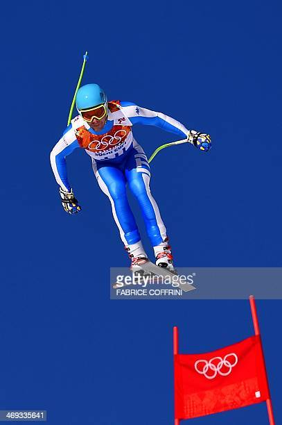 Italy's Christof Innerhofer competes during the Men's Alpine Skiing Super Combined Downhill at the Rosa Khutor Alpine Center during the Sochi Winter...