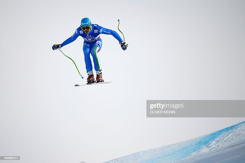 Italy's Christof Innerhofer competes during the men's downhill training event of the 2013 FIS Alpine Ski World Championships in Schladming, Austria on February 8, 2013.