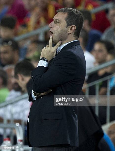 Italy's coach Devis Mangia reacts during the 2013 UEFA U21 Championship final football match between Spain and Italy at Teddy Stadium in Jerusalem on...