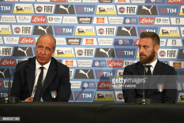 Italy's coach Giampiero Ventura and Italy's midfielder Daniele De Rossi speaks during a press conference on the eve of the friendly football match...