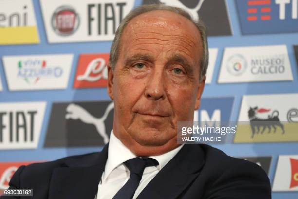 Italy's coach Giampiero Ventura attends a press conference on the eve of the friendly football match Italy vs Uruguay in Nice on June 6 2017 / AFP...
