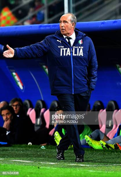 Italy's coach Giampiero Ventura gestures during the FIFA World Cup 2018 qualification football match between Italy and Albania on March 24 2017 at...