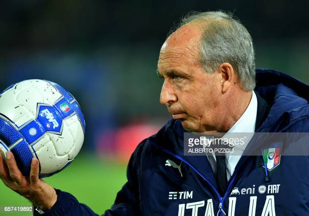 Italy's coach Giampiero Ventura looks on before the FIFA World Cup 2018 qualification football match between Italy and Albania on March 24 2017 at...