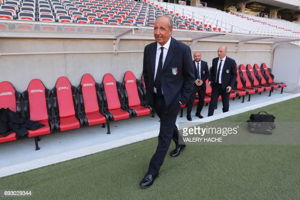 Italy's coach Giampiero Ventura on stand on the edge of the pitch on the eve of the friendly football match Italy vs Uruguay in Nice on June 6 2017 /...