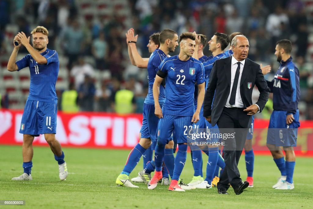 Italy's coach Gian Piero Ventura reacts after his team won the friendly football match Italy vs Uruguay at the Allianz Riviera Stadium in Nice, southern France, on June 7, 2017. /