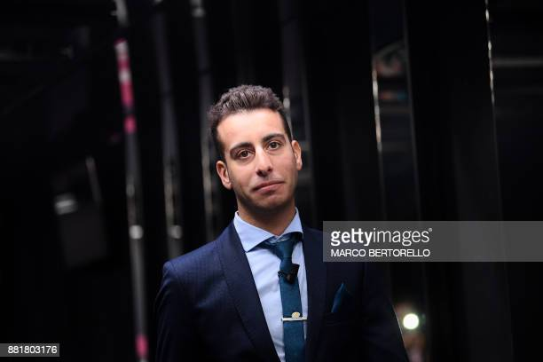 Italy's cyclist Fabio Aruthe attends the presentation of the 2018 Tour of Italy cycling race on November 29 2017 in Milan / AFP PHOTO / MARCO...
