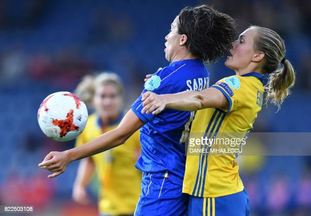 Italy's Daniela Sabatino vies with Sweden's Magdalena Ericsson during the UEFA Women's Euro 2017 football match between Sweden and Italy at De...
