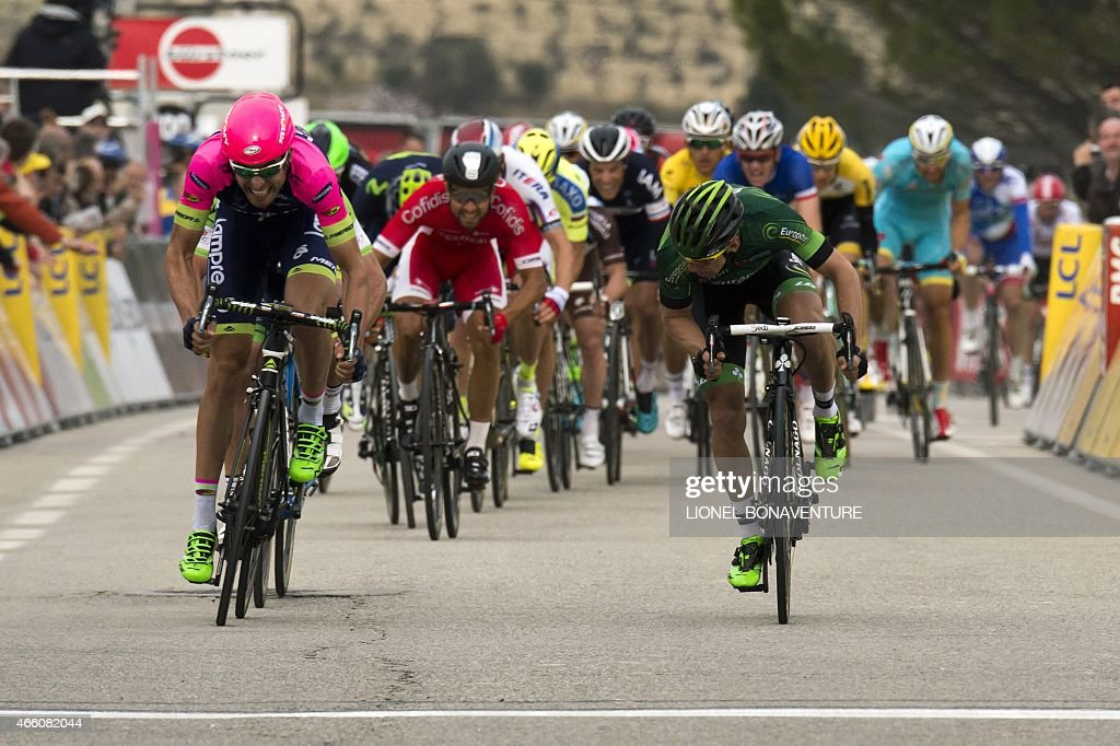 Italy's Davide Cimolai (L) sprints to win ahead of France's <a gi-track='captionPersonalityLinkClicked' href=/galleries/search?phrase=Bryan+Coquard&family=editorial&specificpeople=8795501 ng-click='$event.stopPropagation()'>Bryan Coquard</a> (R) at the end of the fifth stage of the 73rd edition of the Paris-Nice cycling race, between Saint-Etienne and Rasteau, on March 13, 2015.