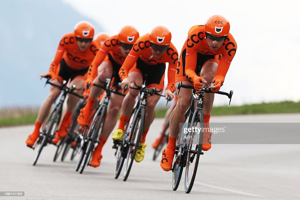 Italy's Davide Rebellin leads the team of Poland's Team CCC Polsat Polkowice during the Team Time Trial of 14,1 km competition of the cycling road race 'Giro del Trentino' in Lienz, Austria, on April 16, 2013. AFP PHOTO / PIERRE TEYSSOT