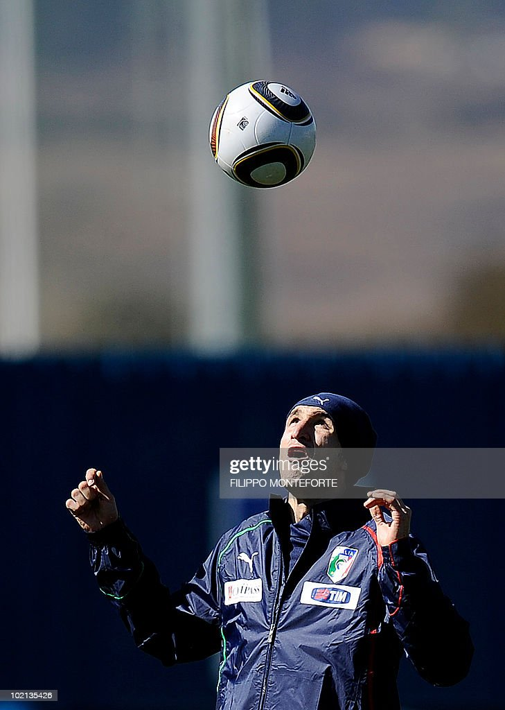Italy's defender Giorgio Chiellini follows the ball during a training session at Irene's Southdowns College, south of Pretoria on June 16, 2010. Coach Marcello Lippi was calm and confident on June 15 despite reigning champions Italy's failure to win their opening match of the 2010 Football World Cup.
