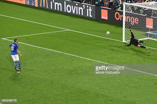 Italy's defender Leonardo Bonucci misses a penalty against Germany's goalkeeper Manuel Neuer during the Euro 2016 quarterfinal football match between...