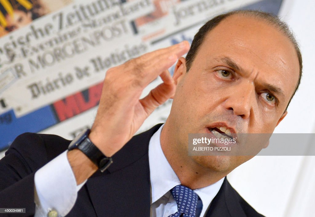 Italy's deputy prime minister Angelino Alfano holds a press conference in Rome on November 16, 2013. Silvio Berlusconi's centre-right party has split, in the latest blow for the scandal-tainted billionaire ex-premier, who may be voted out of parliament at the end of the month. Alfano, Berlusconi's former right-hand man, announced he would not remain at the side of his onetime mentor and would form his own party instead.