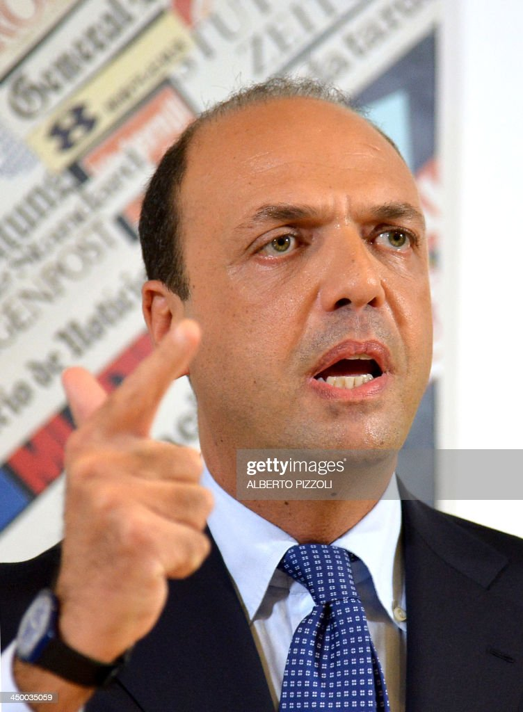 Italy's deputy prime minister Angelino Alfano holds a press conference in Rome on November 16, 2013. Silvio Berlusconi's centre-right party has split, in the latest blow for the scandal-tainted billionaire ex-premier, who may be voted out of parliament at the end of the month. Alfano, Berlusconi's former right-hand man, announced he would not remain at the side of his onetime mentor and would form his own party instead. AFP PHOTO / ALBERTO PIZZOLI