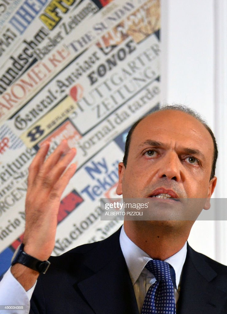 Italy's deputy prime minister Angelino Alfano speaks during a press conference in Rome on November 16, 2013. Silvio Berlusconi's centre-right party has split, in the latest blow for the scandal-tainted billionaire ex-premier, who may be voted out of parliament at the end of the month. Alfano, Berlusconi's former right-hand man, announced he would not remain at the side of his onetime mentor and would form his own party instead. AFP PHOTO / ALBERTO PIZZOLI