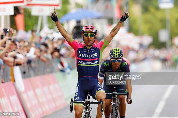 RIDER Italy's Diego Ulissi of team LampreMerida celebrates as he crosses the finish line to win the 11th stage of the 99th Giro d'Italia Tour of...