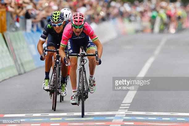 RIDER Italy's Diego Ulissi of team LampreMerida sprints to win the 11th stage of the 99th Giro d'Italia Tour of Italy from Modena to Asolo on May 18...