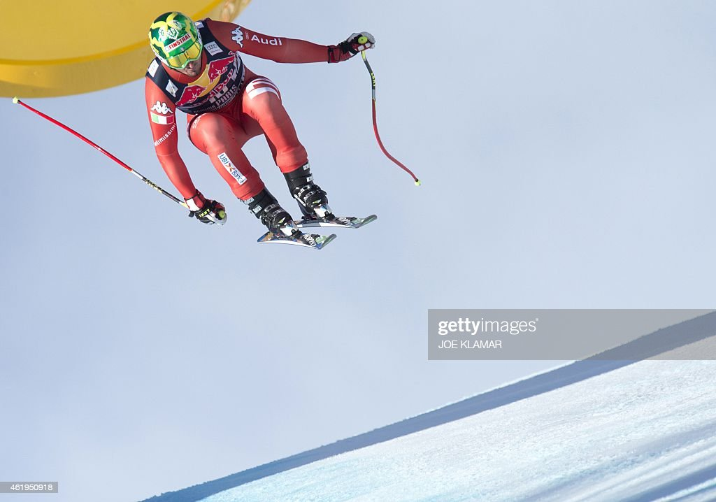 Italy's <a gi-track='captionPersonalityLinkClicked' href=/galleries/search?phrase=Dominik+Paris&family=editorial&specificpeople=5663630 ng-click='$event.stopPropagation()'>Dominik Paris</a> attends the men's downhill training of the FIS Alpine Skiing World Cup in Kitzbuehel, Austria, on January 22, 2015. AFP PHOTO / JOE KLAMAR