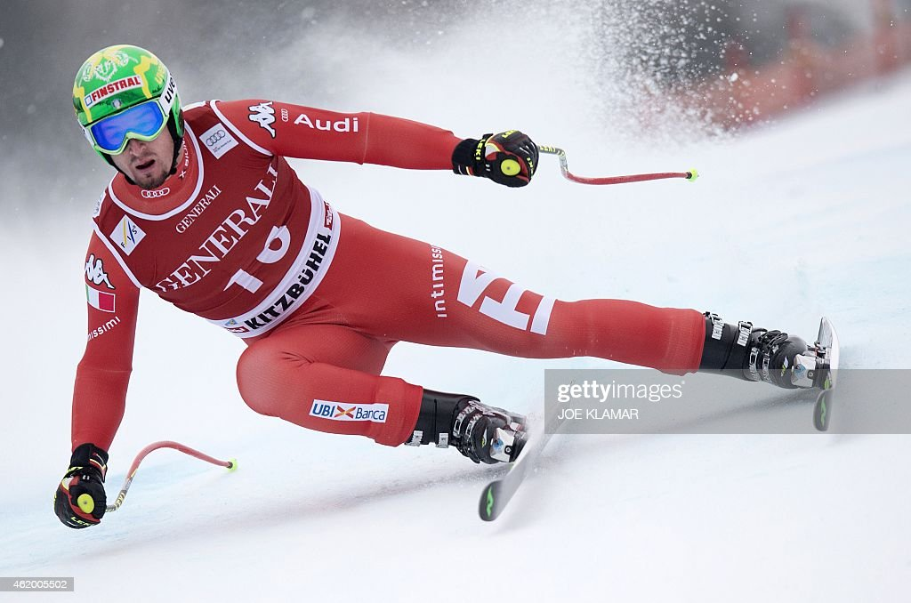 Italy's <a gi-track='captionPersonalityLinkClicked' href=/galleries/search?phrase=Dominik+Paris&family=editorial&specificpeople=5663630 ng-click='$event.stopPropagation()'>Dominik Paris</a> competes during the Super G competition of the FIS Alpine Skiing World Cup in Kitzbuehel, Austria, on January 23, 2015. Italy's <a gi-track='captionPersonalityLinkClicked' href=/galleries/search?phrase=Dominik+Paris&family=editorial&specificpeople=5663630 ng-click='$event.stopPropagation()'>Dominik Paris</a> won ahead of the second Matthias Mayer of Austria and third placed Georg Streitberger of Austria. AFP PHOTO / JOE KLAMAR
