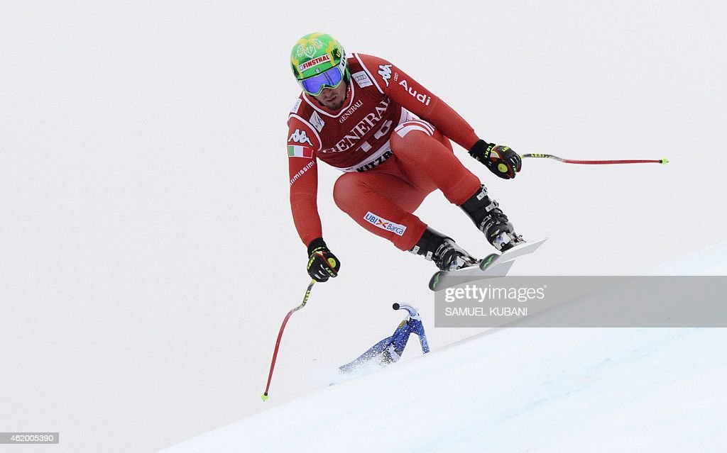 Italy's <a gi-track='captionPersonalityLinkClicked' href=/galleries/search?phrase=Dominik+Paris&family=editorial&specificpeople=5663630 ng-click='$event.stopPropagation()'>Dominik Paris</a> competes in the men's downhill Super G race of the FIS Alpine Skiing World Cup in Kitzbuehel, Austria, on January 23, 2015. AFP PHOTO / SAMUEL KUBANI