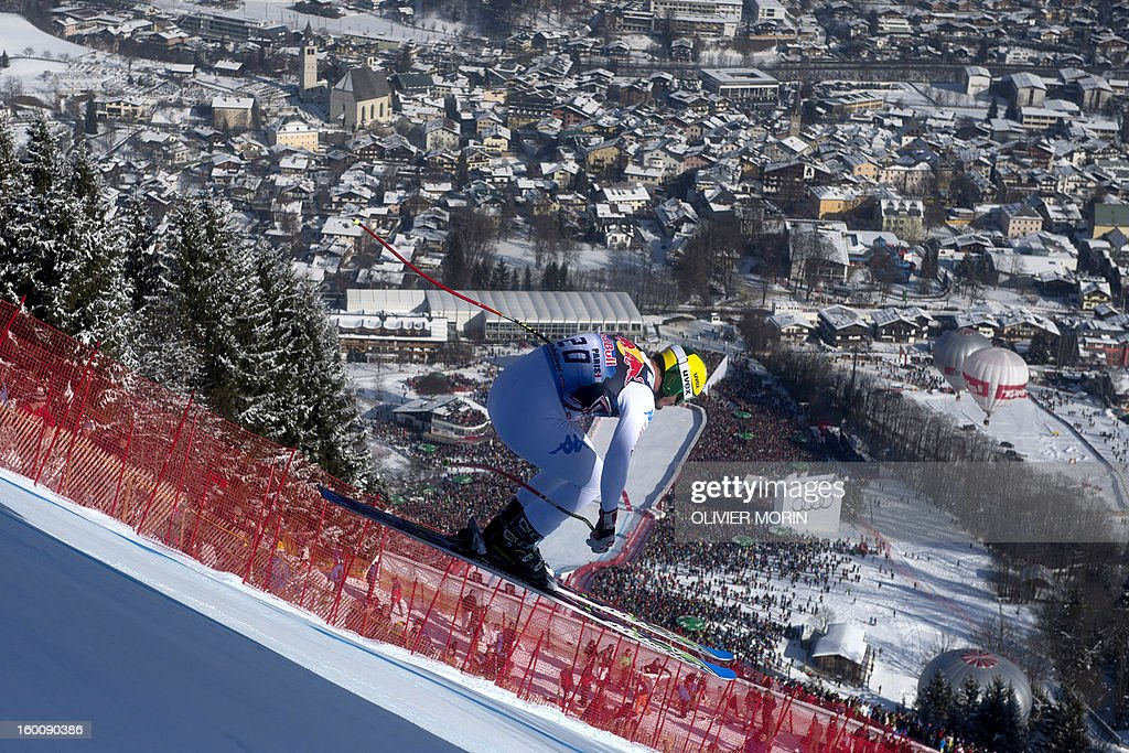 Italy's Dominik Paris competes to win the FIS World Cup men's downhill race on January 26, 2013 in Kitzbuehel, Austrian Alps.