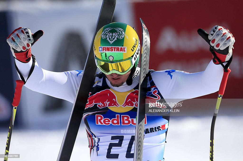 Italy's Dominik Paris reacts after competing in the FIS World Cup men's downhill race on January 26, 2013 in Kitzbuehel, Austrian Alps. Italy's Dominik Paris won the event.