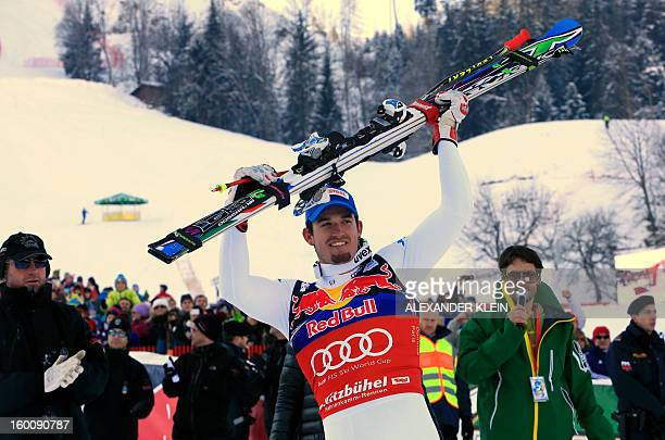Italy's Dominik Paris reacts after competing in the FIS World Cup men's downhill race on January 26 2013 in Kitzbuehel Austrian Alps Italy's Dominik...