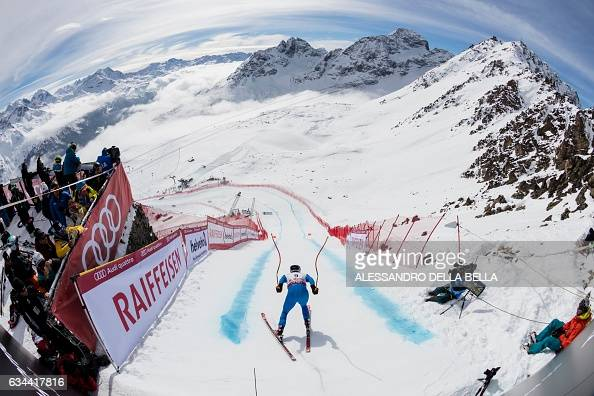 TOPSHOT Italy's Dominik Paris starts the free fall during a training session of the men's downhill race at the 2017 FIS Alpine World Ski...