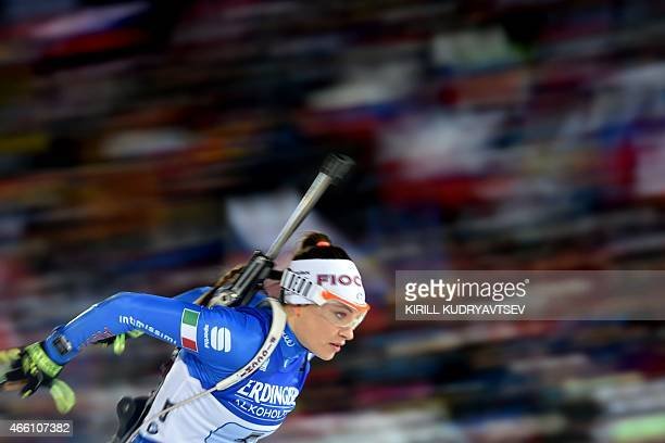 Italy's Dorothea Wierer competes during the Women 4x6 Relay at the IBU Biathlon World Championship in Kontiolahti Finland on March 13 2015 Germany's...