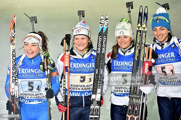 Italy's Dorothea Wierer Nicole Gontier Lisa Vittozzi and Karin Oberhofer react after the Women 4x6 Relay at the IBU Biathlon World Championship in...