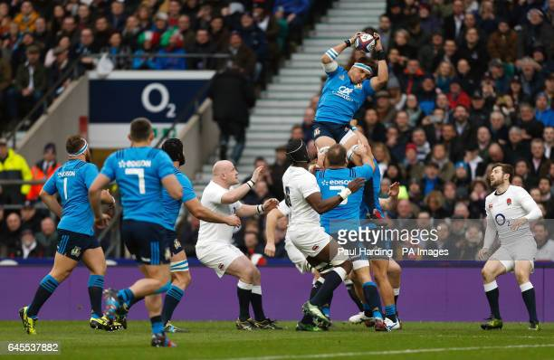 Italy's Dries van Schalkwyk wins a lineout during the RBS 6 Nations match at Twickenham Stadium London