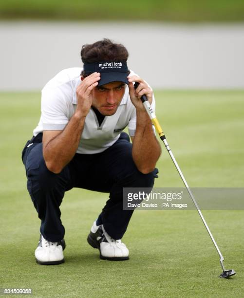 Italy's Edoardo Molinari lines up a putt on the 18th during Round Two of the 2008 Celtic Manor Wales Open at the Celtic Manor Resort Newport