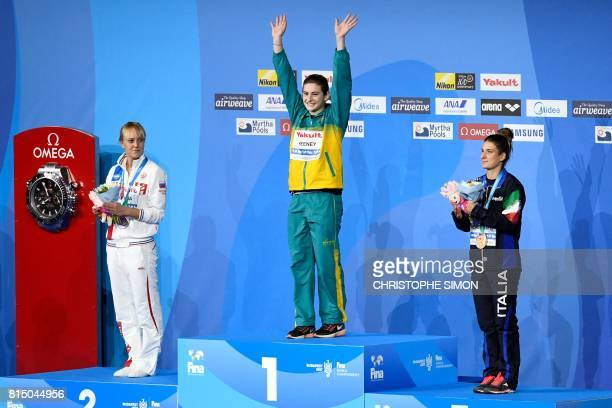 Italy's Elena Bertocchi Australia's Maddison Keeney and Russia's Nadezhda Bazhina pose during the podium ceremony for the women's 1m springboard of...