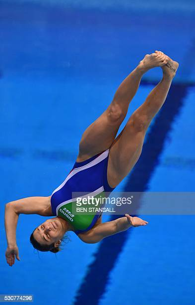 Italy's Elena Bertocchi competes in the final of the 1m women's Springboard diving event on Day 3 of the European aquatics championships in London on...
