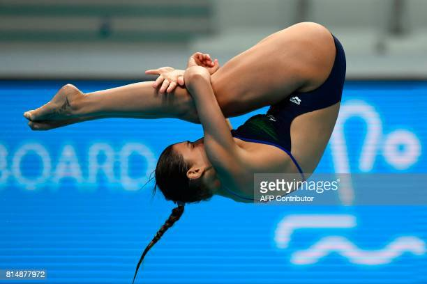 Italy's Elena Bertocchi competes in the Women's 1m Springboard final during the diving competition at the 2017 FINA World Championships in Budapest...