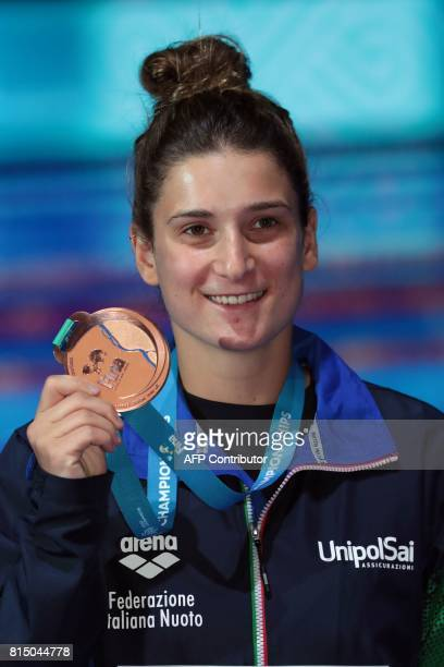 Italy's Elena Bertocchi poses with her bronze medal during the podium ceremony for the women's 1m springboard of the diving competition at the 2017...