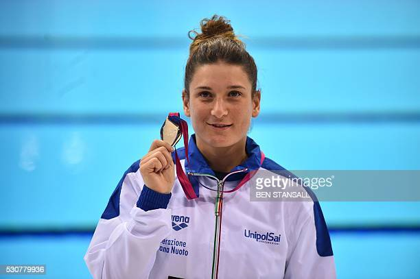 Italy's Elena Bertocchi poses with her silver medal after the final of the 1m women's Springboard diving event on Day 3 of the European aquatics...