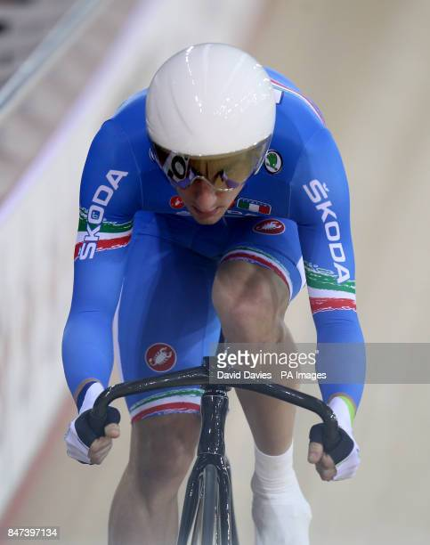 Italy's Elia Viviani competes in the Men's Omnium at the Olympic Velodrome London