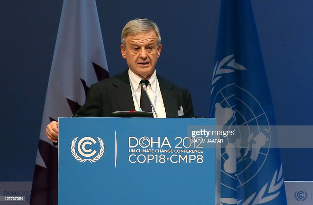 Italy's environment minister Corrado Clini addresses delegates during the United Nations Framework Convention on Climate Change (UNFCCC) in the Qatari capital Doha on December 6, 2012. Negotiators from nearly 200 countries entered the penultimate day of UN climate talks in Doha divided on near-term finance for poor nations' global warming mitigation plans.