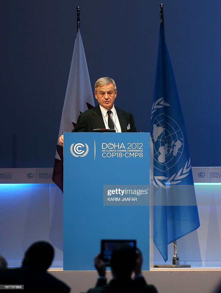 Italy's environment minister Corrado Clini addresses delegates during the penultimate day of the United Nations Framework Convention on Climate Change (UNFCCC) in the Qatari capital Doha, on December 6, 2012. Negotiators from nearly 200 countries entered the penultimate day of UN climate talks in Doha divided on near-term finance for poor nations' global warming mitigation plans.