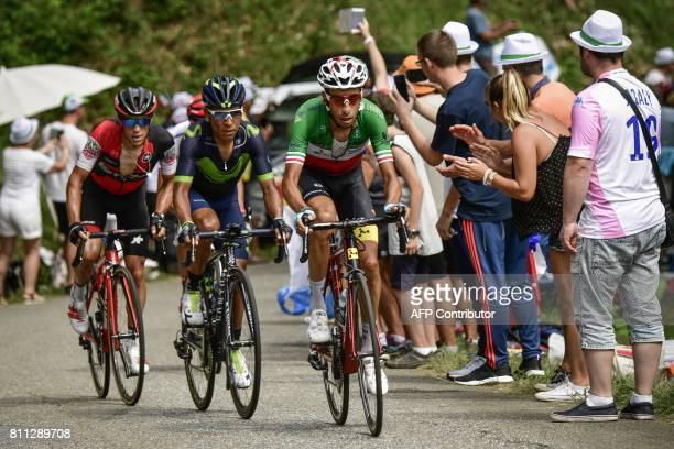 Italy's Fabio Aru Colombia's Nairo Quintana and Australia's Richie Porte ride during the 1815 km ninth stage of the 104th edition of the Tour de...