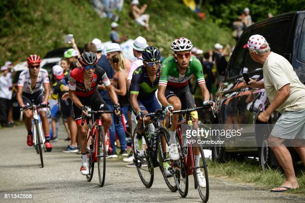 Italy's Fabio Aru Colombia's Nairo Quintana Australia's Richie Porte and Colombia's Jarlinson Pantano ride in a breakaway during the 1815 km ninth...